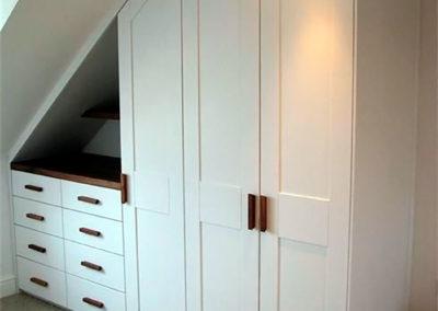 armario guardilla cajones blanco madera lacado granada