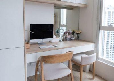armario y escritorio en granada madera y blanco decuore