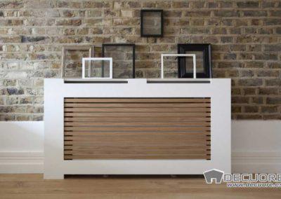 cubreradiadores moderno a medida blanco y madera decuore