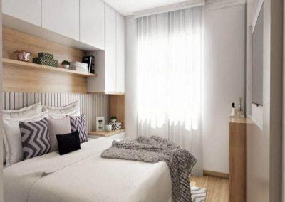 dormitorio blanco y madera decuore